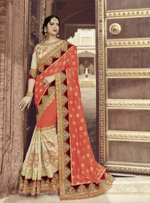 Presenting  this orange and Cream color two tone jacquard two tone fabrics saree. look gorgeous at an upcoming any occasion wearing the saree. this party wear saree won't fail to impress everyone around you. Its attractive color and heavy designer embroidered saree, stone work design, also heavy designer blouse, cut paste design saree, beautiful floral design all over work over the attire & contrast hemline adds to the look. Comes along with a contrast unstitched blouse.