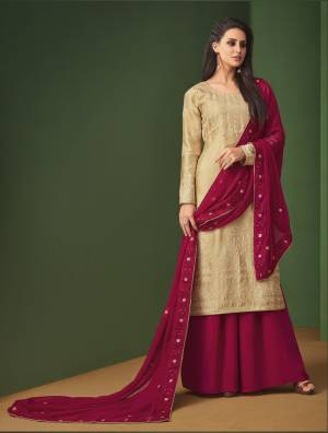 Simple And Elegant Looking Designer Suit Is Here In Beige Colored Top Paired With Maroon Colored Bottom And Dupatta. This Suit Is Light Weight As It Is Georgette Based And Ensures Superb Comfort All Day Long. Buy Now.