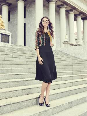 Grab This Pretty Readymade Kurti For Your Casual Or Semi-Casual Wear In Black Color Fabricated On Rayon. This Readymade Kurti Is Available In All Regular Sizes. Buy Now.