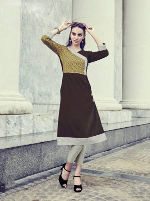 For A Patterned Look, Grab This Readymade Kurti In Brown Color Fabricated On Rayon. Its Fabric Ensures Superb Comfort All Day Long And Its Easy To Care For And Durable.