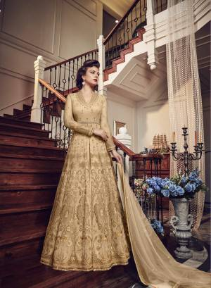 Very Pretty Looking Designer Indo-Western Suit Is Here In Beige Color Paired With Beige Colored Pant and Lehenga With Beige Dupatta. Its Top And Dupatta Are Net Fabricated Paired With Art Silk Pant And Lehenga. Buy This Designer Piece Now And Wear As Per The Occasion Pairing It With Pants Or Lehenga.