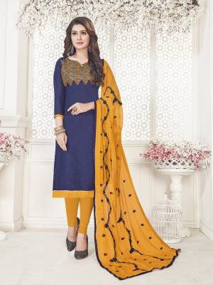 Enhance Your Personality Wearing This Suit In Navy Blue Colored Top Paired With Contrasting Musturd Yellow Colored Bottom And Dupatta. This Dress Material Is Cotton Based Paired With Chiffon Dupatta. Buy Now.