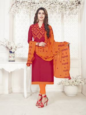 Attractive Color Pallete Is Here With This Dress Material In Red Colored Top Paired With Contrasting Orange Colored Bottom And Dupatta. Its Top And Bottom Are Cotton Based Paired With Chiffon Dupatta. Its Fabric Ensures Superb Comfort All Day Long.