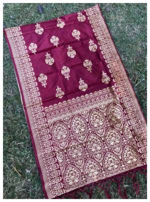 Add More Glam To Your Look With This Beautiful Silk Based Dupatta Beautified With Weave All Over It, You Can Pair This Up Any Same Or Contrasting Colored Dress. Buy Now.