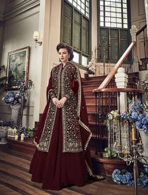 Enhance Your Personality Wearing This Heavy Designer Indo-Western Suit In Maroon Color Paired With Maroon Colored Bottom And Dupatta. Its Top IS Fabricated On Velvet Paired With Georgette Bottom And Chiffon Dupatta. Buy This Now.