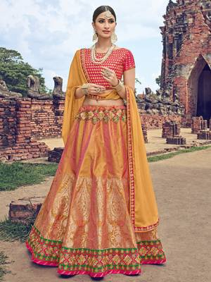 Presenting This Musturd Yellow color  rich jacquard Silk Lehenga. Ideal for party, festive & social gatherings. this gorgeous saree featuring a beautiful mix of designs. Its attractive color and jacquard lehenga with chiffon fabrics work over the attire & contrast hemline adds to the look. Comes along with a contrast unstitched blouse.