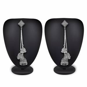 Buy This Pretty Pair Of Earrings In Silver Color Which Can Be Paired With Colored Attire. These Earrings Will Give A Pretty Elegant Look  Which Will eanr You Lots Of Compliments From Onlookers.