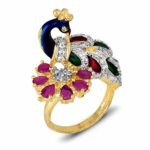 For A Quite Heavy Look, Grab This Pretty Peacock Patterned Ring With Multi Colored Stone Work. It Can e Paired With Any Colored Ethnic Attire.