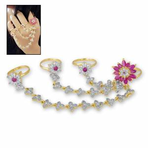 Here Is A Unique Multi Rings Patterned Designer Ring Beautified With White And Pink Colored Stone Work. Buy Now.
