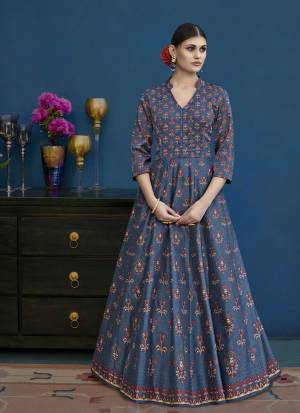 Grab This Designer Floor Length Suit In Blue Colora. Its Top Is Fabricated On Art Silk Paired With Santoon Bottom And Chiffon Dupatta. Its Fabric Ensures Superb Comfort Throughout The Gala. Buy Now.