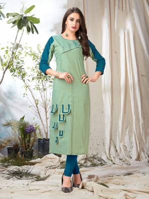 Look Pretty In Pastels With This Pastel Green Colored Readymade Kurti Fabricated On Khadi Cotton. This Kurti Is Available In All Regular Sizes And Suitable For Festive Or Semi-Casuals.