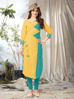 Celebrate This Festive Season Wearing This Designer Kurti In Yellow And Blue Color Fabricated On Khadi Cotton. Its Fabric Ensures Superb Comfort All Day Long.