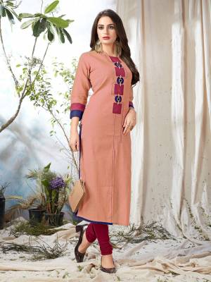 Look Pretty In Pastels With This Peach Colored Readymade Kurti Fabricated On Khadi Cotton. This Kurti Is Available In All Regular Sizes And Suitable For Festive Or Semi-Casuals.