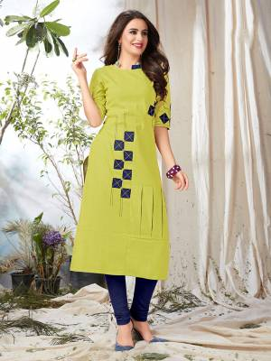 Celebrate This Festive Season Wearing This Designer Kurti In Pear Green Color Fabricated On Khadi Cotton. Its Fabric Ensures Superb Comfort All Day Long.