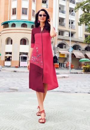 Look Pretty In This Readymade Kurti In Dark Pink Color Fabricated On Linen Beautified With Thread Work. It Is Available In All Regular Sizes. Buy Now.