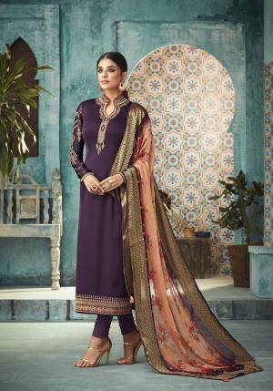 A Must Have Shade In Every Womens Wardrobe Is Here With This Designer Straight Suit In Wine Color Paired With Contrasting Peach Colored Dupatta. Its Top Is Fabricated On Satin Georgette Paired With Santoon Bottom and Banarasi Silk Printed Dupatta. Its Lovely Color Pallete Will Earn You Lots Of Compliments From Onlookers.