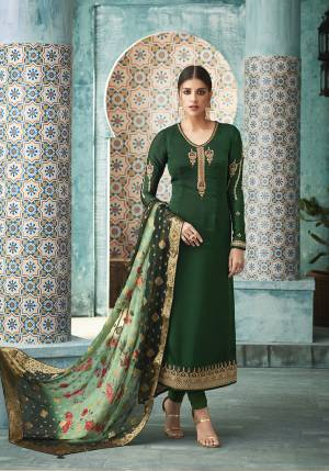 Celebrate This Festive Season Wearing This Designer Straight Suit In Dark Green Color Paired With Green Colored Dupatta. Its Top Is Fabricated On Satin Georgette Paired With Santoon Bottom And Banarasi Silk Dupatta. All Its Fabrics Are Light Weight And Easy To Carry all Day Long.