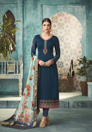 Add This Lovely Designer Straight Cut Suit In Dark Blue Color Paired With Blue Colored Dupatta. Its Top Is Fabricated On Satin georgette paired With Santoon Bottom And Banarasi Silk Dupatta. Buy This Semi-Stitched Suit Now.