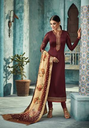 For A Royal Look, Grab This Designer Straight Suit In Maroon Color Paired With Contrasting Beige Colored Dupatta. Its Top Is Fabricated On Satin Georgette Paired With Santoon Bottom And Banarasi Silk Dupatta. It Is Light Weight And easy To Carry All Day Long.