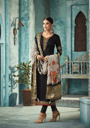 Flaunt Your Rich And Elegant Taste Wearing This Designer Straight Suit In Black Color Paired With Grey Colored Printed Dupatta. Its Top Is Fabricated On Satin Georgette Paired With Santoon Bottom And Banarasi Silk Dupatta. Buy This Now.