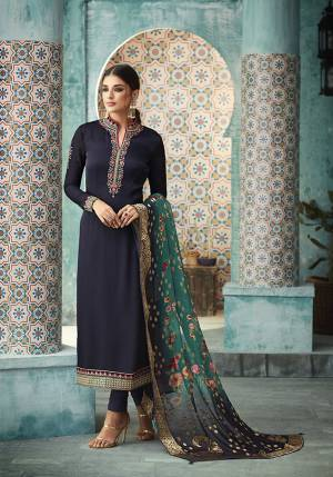 Enhance Your Personality Wearing This Designer Straight Suit In Navy Blue Color Paired With Blue Colored Dupatta, This Blue Color Pallete Will Give You A Bold And Fresh Look Every Time You Wear It. Buy Now.