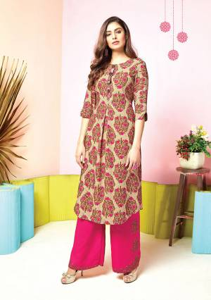 Grab This Pretty Designer Pair Of Kurti In Beige And Pink Colored Top Paired With Dark Pink colored Bottom. Its Top And Bottom Are Fabricated On Muslin Beautified With Prints And Thread Work. It Is Available In All Regular Sizes.