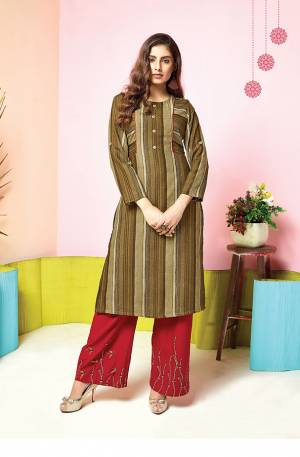For A Simple And Elegant Festive Look, Grab This Designer Readymade Kurti And Plazzo Set In Olive Green Colored Top Paired With Contrasting Red Colored Plazzo. This Set Is Fabricated On Muslin Beautified With Prints And Thread Work. Buy Now.