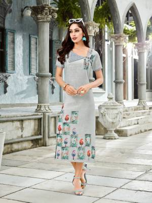 Flaunt Your Rich And Elegant Taste Wearing This Readymade Kurti In Grey Color Fabricated On Linen. It Is Available In All Sizes Which Ensures Superb Comfort All Day Long.