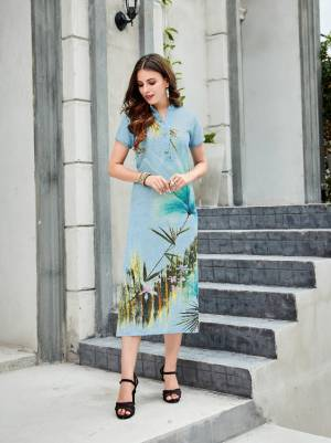 Look Pretty In This Beautiful Colored Readymade Kurti In Light Blue Color Fabricated On Linen. Its Fabric Is Light In Weight And Easy To Carry All Day Long.