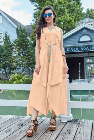 Here Is A Very Pretty Designer Readymade Kurti Is Here With Different Cuts In Lovely Peach Color. It Is Fabricated On Cotton Which Is Soft Towards Skin And Ensures Superb Comfort All Day Long. Buy Now.