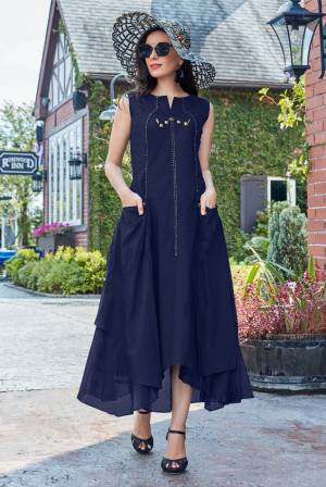 Enhance Your Personality Wearing This Designer Readymade Kurti In Navy Blue Color Fabricated On Cotton. It Is Available In all Regular Sizes.