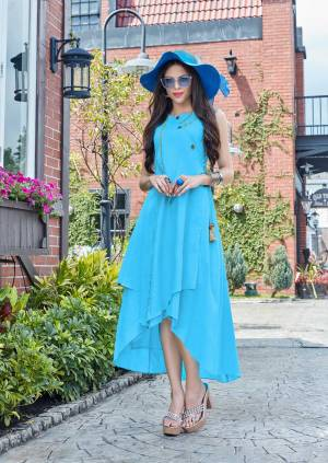 Grab This Designer Readymade Kurti In Turquoise Blue Color Fabricated On Cotton Beautified With Different Cuts And Buttons. It Is Available In All Regular Sizes. Buy Now.