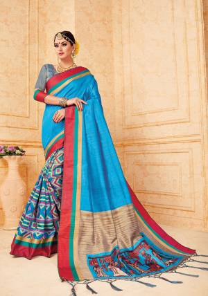 Celebrate This Festive Season With These Traditional Silk Based Saree. This Saree And Blouse Are Fabricated On Art Silk Beautified With Prints All Over It, It Is Durable And Easy To Carry All Day Long.