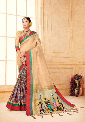 Grab This Beautiful Silk Based Saree For The Upcmong Festive And Wedding Season. This Saree And Blouse Are Fabricated On Art Silk Beautified With Prints All Over It. Its Fabric Gives A Rich Look To Your Personality.