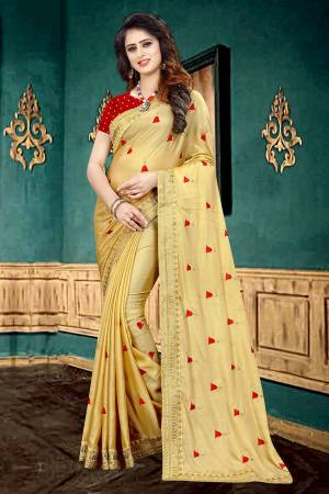 Celebrate This Festive Season With Beauty And Comfort Wearing This Designer Saree In Musturd Yellow Color Paired With Contrasting Red Colored Blouse. This Saree Is Georgette Based Paired With Brocade Fabricated Blouse. It Is Light In Weight And Easy To Carry All Day Long.