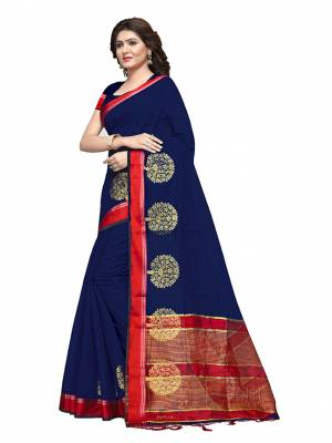 This Festive Season, Feel Comfortable And Look Beautiful Wearing This Lovely Cotton Silk Based Saree Beautified With Weave All. This Saree Is Light In Weight And easy To Carry All Day Long. Buy Now.