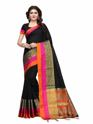 For Your Semi Casuals, Grab This Beautiful Saree Fabricated on Cotton Silk Paired With Cotton Silk fabricated Blouse. It Is Beautified With Weave Making The Saree More Attractive. Buy Now.