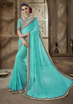 Pretty Elegant Shade Is Here With This Saree In Sky Blue Color Paired With Sky Blue Colored Blouse. This Saree Is Fabricated On Georgette paired With Art Silk Fabricated Blouse. Buy This Now.