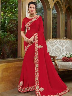 Gorgeously mesmerizing is what you will look at the next wedding gala wearing this beautiful red color georgette saree. Ideal for party, festive & social gatherings. this gorgeous saree featuring a beautiful mix of designs. Its attractive color and heavy designer embroidered saree, full saree design saree, beautiful floral design all over work over the attire & contrast hemline adds to the look. Comes along with a contrast unstitched blouse.