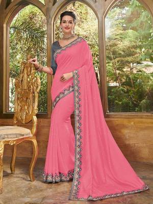 Attractively Gorgeous mesmerizing is what you will look at the next wedding gala wearing this beautiful pink color silk fabrics saree. Ideal for party, festive & social gatherings. this gorgeous saree featuring a beautiful mix of designs. Its attractive color and heavy designer embroidered saree, full saree design, paper mirror and stone, beautiful floral design all over work over the attire & contrast hemline adds to the look. Comes along with a contrast unstitched blouse.