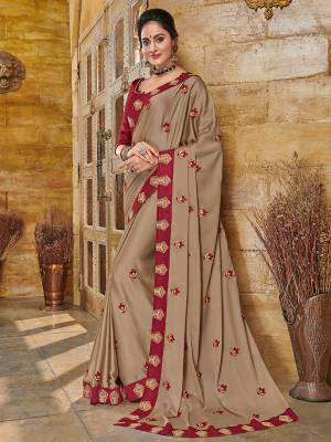 Flaunt your gorgeous look wearing this beige color two tone bright georgette saree. Ideal for party, festive & social gatherings. this gorgeous saree featuring a beautiful mix of designs. Its attractive color and heavy designer embroidered saree, full saree design saree, beautiful floral design all over work over the attire & contrast hemline adds to the look. Comes along with a contrast unstitched blouse.