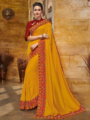 The fabulous pattern makes this saree  a classy number to be included in your wardrobe.Musturd  yellow color silk fabrics saree. Ideal for party, festive & social gatherings. this gorgeous saree featuring a beautiful mix of designs. Its attractive color and heavy designer embroidered saree, full saree design saree, beautiful floral design all over work over the attire & contrast hemline adds to the look. Comes along with a contrast unstitched blouse.