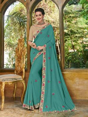 Bring out the best in you when wearing this Turquoise Blue color bright georgette saree. Ideal for party, festive & social gatherings. this gorgeous saree featuring a beautiful mix of designs. Its attractive color and heavy designer embroidered saree, full saree design saree, sequence designs, beautiful floral design all over work over the attire & contrast hemline adds to the look. Comes along with a contrast unstitched blouse.