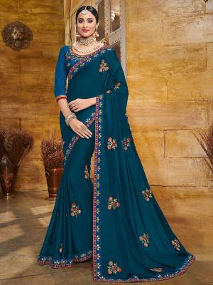 You Look elegant and stylish this festive season by draping this Blue color two tone bright georgette saree. Ideal for party, festive & social gatherings. this gorgeous saree featuring a beautiful mix of designs. Its attractive color and heavy designer embroidered saree, full saree design saree, sequence designs, beautiful floral design all over work over the attire & contrast hemline adds to the look. Comes along with a contrast unstitched blouse.