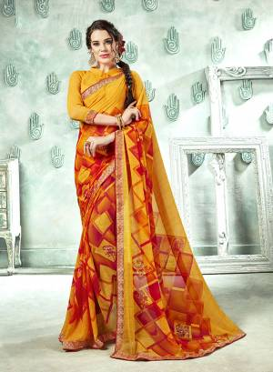 Add Some Casuals With This Saree In Yellow Color Paired With Yellow Colored Blouse. This Saree And Blouse Are Georgette Based Beautified With prints All Over. Buy Now.