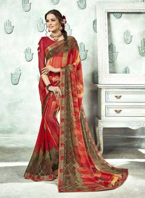 Here Is A Pretty Multi Colored Printed Saree Paired With Red Colored Blouse. This Saree And Blouse Are Fabricated On Georgette Which Is Light In Weight And Easy To Carry All Day Long.