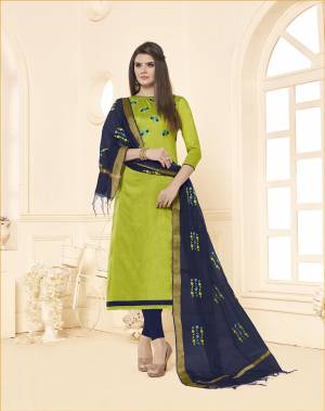 You Will Definitely Earn Lots Of Compliments Wearing This Designer Straight Suit In Light Green Colored Top Paired With Contrasting Navy Blue Colored Bottom And Dupattta. This Dress Material Is Cotton Based Paired With Chanderi Fabricated Dupatta. Buy Now.