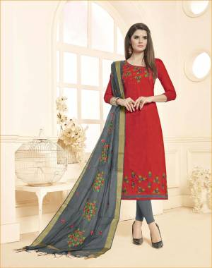 Unqiue Color Pallete Is Here With This Dress Material In Red Colored Top Paired With Contrasting Grey Colored Bottom And Dupatta. Its Top and Bottom Are Cotton Based Paired With Chanderi Dupatta.