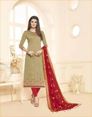 Evergreen Combination Is Here with This Dress Material In Beige Colored Top paired With Red Colored Bottom And Dupatta. This Dress Material Is Cotton Based Paired With Embroidered Chanderi Fabricated dupatta.