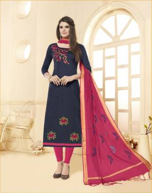 You Will Definitely Earn Lots Of Compliments Wearing This Designer Straight Suit In Navy Blue Colored Top Paired With Contrasting Dark Pink Colored Bottom And Dupattta. This Dress Material Is Cotton Based Paired With Chanderi Fabricated Dupatta. Buy Now.